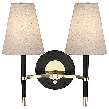 Shown in Ebony Finished Wood w/ Antique Brass Accents