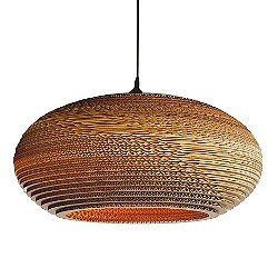 Disc Scraplight Natural Pendant Light