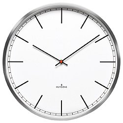 One Stainless Steel Wall Clock with White Index Dial