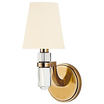 Shown in White paper shade, Aged Brass finish