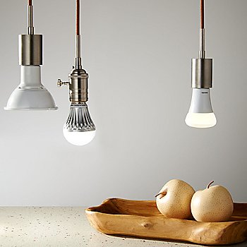 Brown cord color / Satin Nickel finish, pictured with SoCo Modern Socket Pendant Light