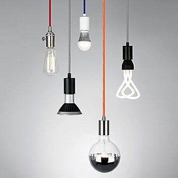 Red cord color / Satin Nickel finish, pictured with SoCo Modern Socket Pendant Lights