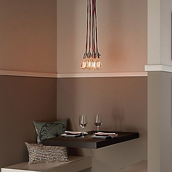 Red cord color / Satin Nickel finish, grouping in use in breakfast nook