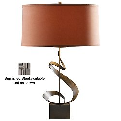 Gallery Spiral Table Lamp (Terra Micro-Suede/Burnished Steel) - OPEN BOX RETURN