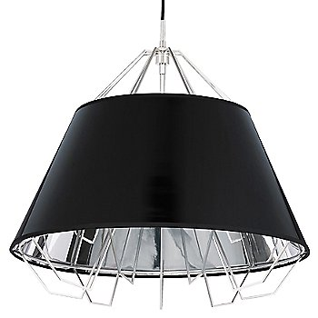 Shown in Gloss Black and Silver shade, Satin Nickel finish, Black cord