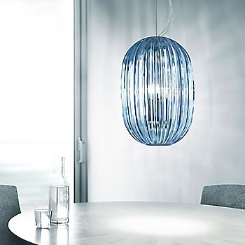 Blue, in use over dining table