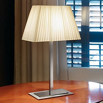 Shown in Satin Nickel Chrome with White Ribbon shade