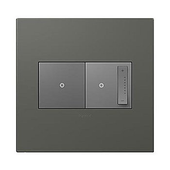 Soft Touch Moss Grey finish / 2 Gang