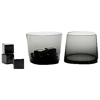 Polished Black Whisky Stones with Charcoal Grey tumblers