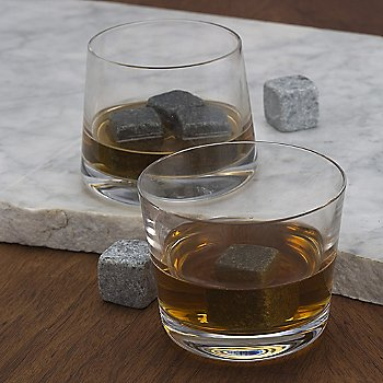Natural Soapstone Whisky Stones with Clear tumblers