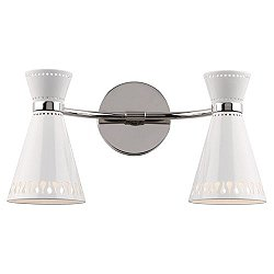 Havana 2 Light Wall Sconce (White/Polishd Nickel) - OPEN BOX