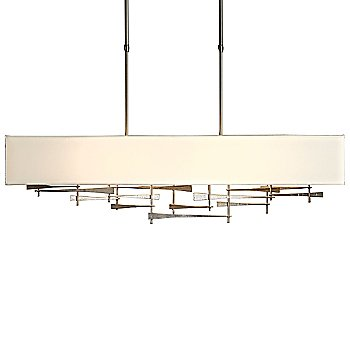 Shown in Burnished Steel finish, Flax shade