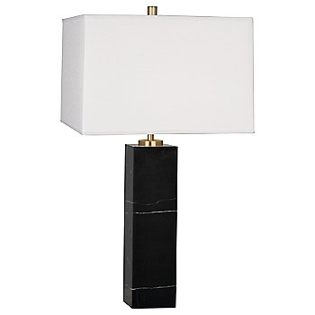 Oyster Linen shade, Black Marble base