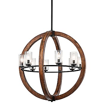 Shown in Auburn Stained finish, 8 Light