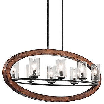 Shown in Auburn Stained finish, 5 Light