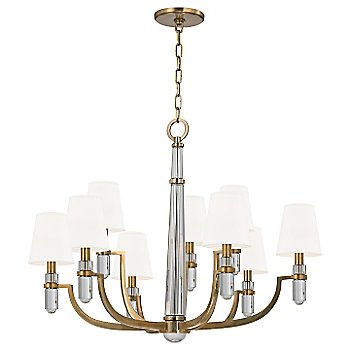 Shown in Aged Brass finish, White shade