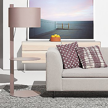 Mima Pillow with flange Decorative Bowl, Note Floor Lamp with Table, Clad 4 Drawer Dresser and Bonnie Sofa