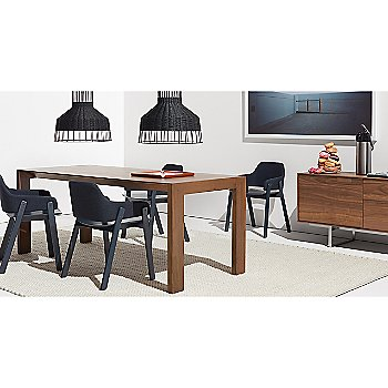 Clutch Lounge Chair with Second Best Wood Dining Table, Laika Medium Pendant Light, Uni Rug and 100 Percent Trays