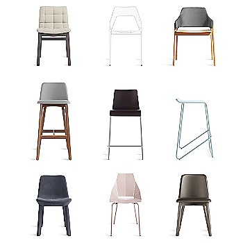 Real Good Chair with Ready Barstool, Clutch Lounge Chair, Hot Mesh Chair, Chip Bar Stool, Neat Leather Dining Chair, Wicket Smoke Counterstool and Chip Leather Dining Chair