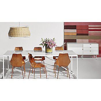 Real Good Chair with Laika Large Pendant, Strut Large Outdoor Table and Dang 1 Door/3 Drawer Console