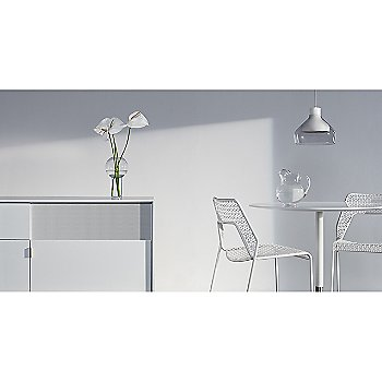 Hot Mesh Counter Stool with Trace 4 Pendant Light, Dang 1 Door/3 Drawer Console and Sprout Side Table
