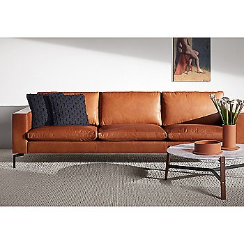 Free Range Coffee Table with New Standard Leather Sofa, Mima Pillow, Flange Decorative Vessel and Flange Decorative Bowl