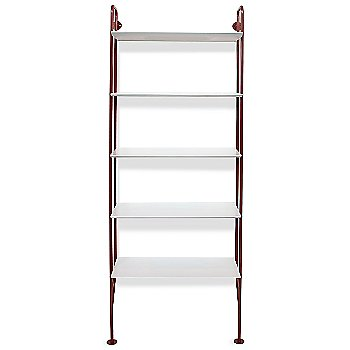 Shown in FLW Red finish, White shelves