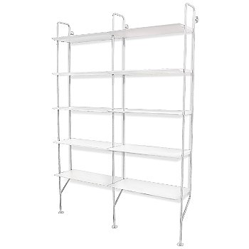 Shown in White Finish, White shelves