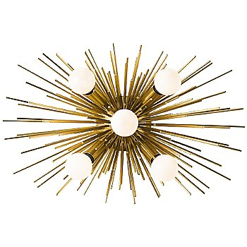 Shown in Antique Brass finish, with G16 1/2 E12 Satin White bulbs