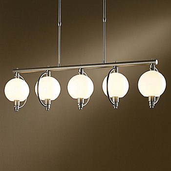 Shown in Burnished Steel finish, Opal shade