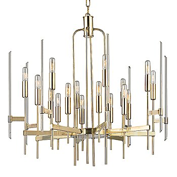 Shown in Aged Brass finish, 16-Light option