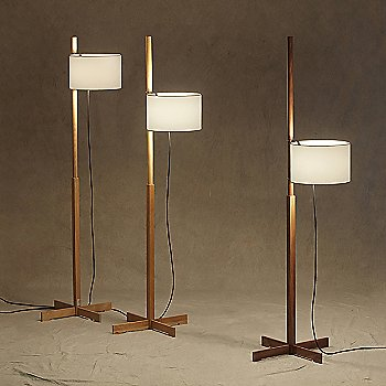 Shown in Beech Finish with White Shades (left) and Walnut Finish with white Shade (right)