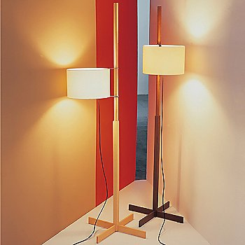 Shown in Beech with White shade and Walnut with Beige shade (l to r)