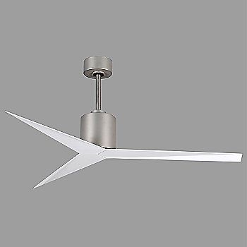 Shown in Brushed Nickel finish, Gloss White blades